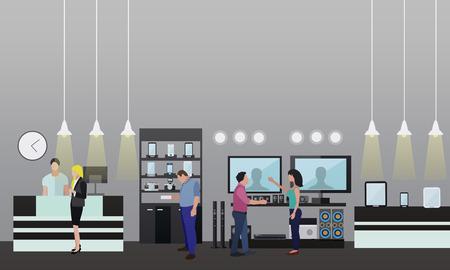 Personas de compras en un centro comercial. cartel del concepto. La electrónica de consumo almacenan Inter. Ilustración vectorial colorido. Los elementos de diseño y pancartas en estilo plano. Ilustración de vector