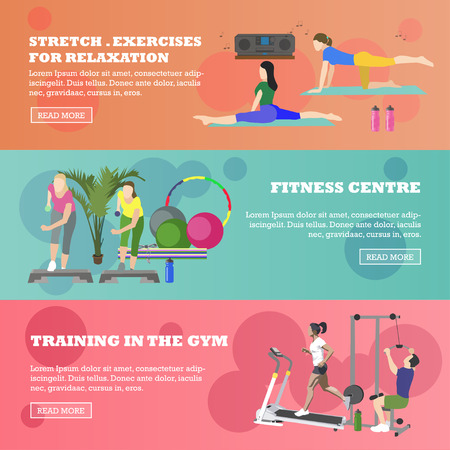 working out: Fitness center horizontal banners set. Sport equipment and accessories. Training concept vector illustration. People running on treadmill, yoga, working out. Illustration