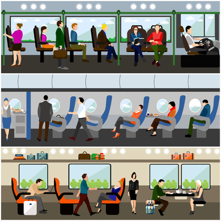 passengers: Passengers in public transport concept vector banners set. People in bus, train and airplane. Transport interior.