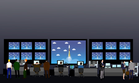 command: Space mission control center. Rocket launch vector illustration.