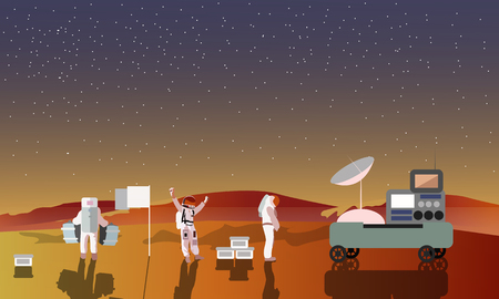 space program: Astronauts on Mars concept vector illustration. Landing to red planet. Space scientists and rover. Mars landscape.