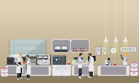 Scientist working in laboratory vector illustration. Science lab interior. Physics education concept. Male and female engineers making research and experiments.