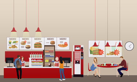 Fast food restaurant interior vector illustration. Horizontal banner in flat style design. Menu in fast food eatery.