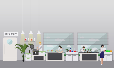 female scientist: Scientist working in laboratory vector illustration. Science lab interior. Biology education concept. Male and female engineers making research and experiments.