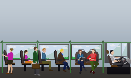 Passengers in public transport concept vector banner. People in bus. Transport interior.