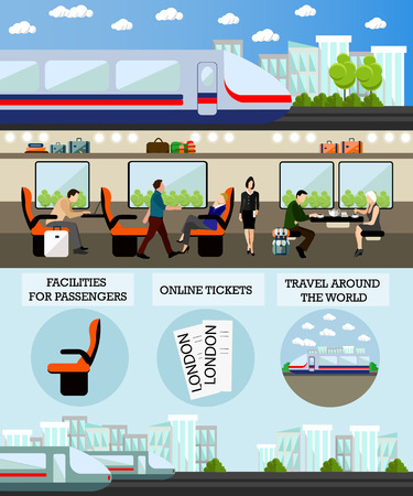 Passengers in public transport concept vector banner. People in train. Subway and rail transport interior.