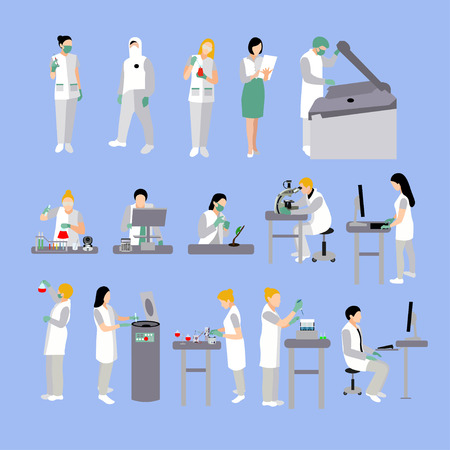 female scientist: Vector set of people in medical laboratory. Doctors and scientist working in lab vector illustration. Male and female characters flat isolated icons. flat icons isolated on white background. Stock Photo