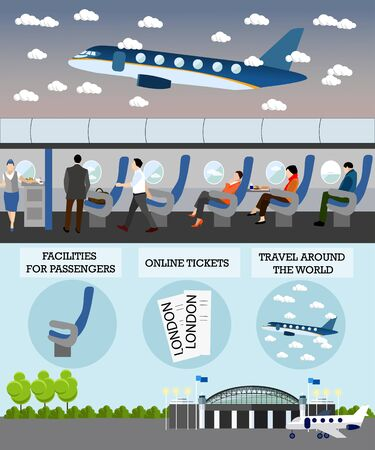 passengers: Airline travel passengers concept vector banner. People in airplane. Aircraft transport interior. Stock Photo