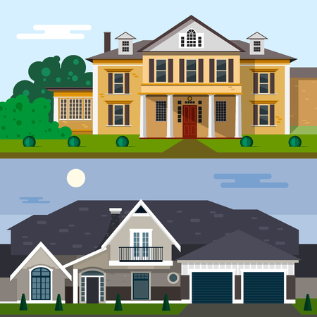 luxury home exterior: Luxury house exterior vector illustration in flat style design. Home facade and yard. Illustration