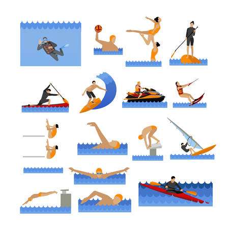Water sport icons set with people swimming, sailing, jumping to water.