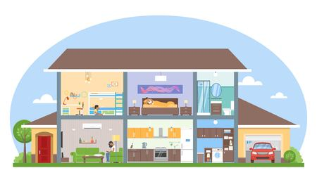 garage on house: Home interior with room furniture vector illustration. Detailed modern house interior in flat style.