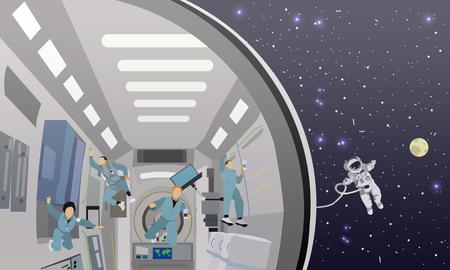 misión espacial concepto de ilustración vectorial. Los astronautas en la estación espacial y el espacio exterior. cosmonautas volando en el espacio sin gravedad. Ilustración de vector