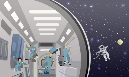 space station: Space mission concept vector illustration. Astronauts in space station and outer space. cosmonauts flying in no gravity space.