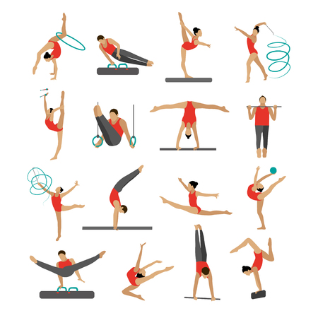 Vector set of people in sport gymnastic positions. Sportsman flat icons isolated on white background. Artistic and rhythmic gymnast exercise. Vettoriali