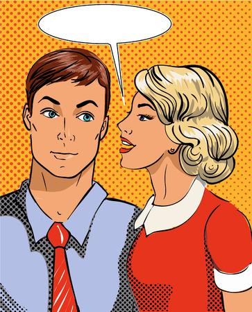 Vector illustratie in pop art stijl. Vrouw vertellen geheim aan de mens. Retro comic. Roddels en geruchten gesprekken.