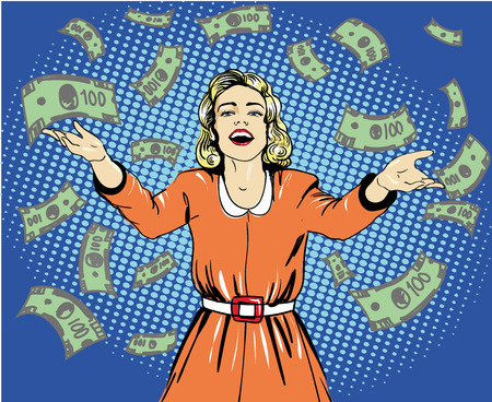 Happy woman throw money. Vector illustration in retro pop art style.