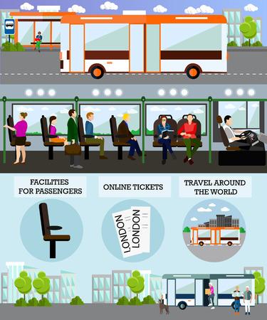 버스 여행 승객 개념 벡터 배너입니다. 버스에서 사람들. 대중 교통 인테리어입니다.