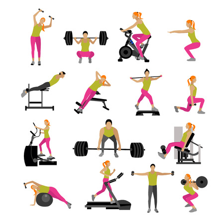Fitness and workout exercise in gym.