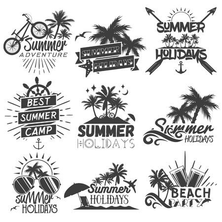 Vector set of summer season labels in vintage style. 일러스트