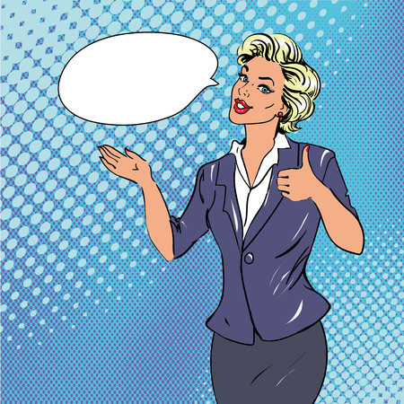 Pop art retro style woman showing thumb up hand sign with speech bubble. Comic hand drawn design vector illustration.