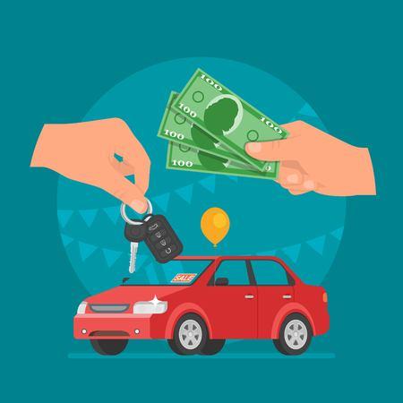 owner money: Car sale vector illustration. Customer buying car from dealer concept. Salesman giving key to new owner. Hand holding money. Illustration
