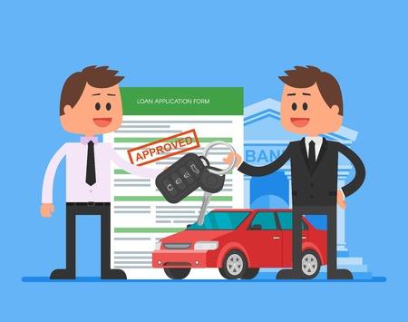 Approved car loan vector illustration. Buying car concept. Dealer hand over car keys to happy customer.
