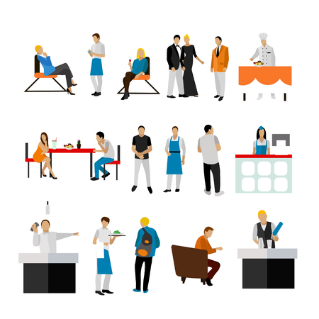 public servants: Vector set of restaurant employees and visitors. People icons isolated on white background.