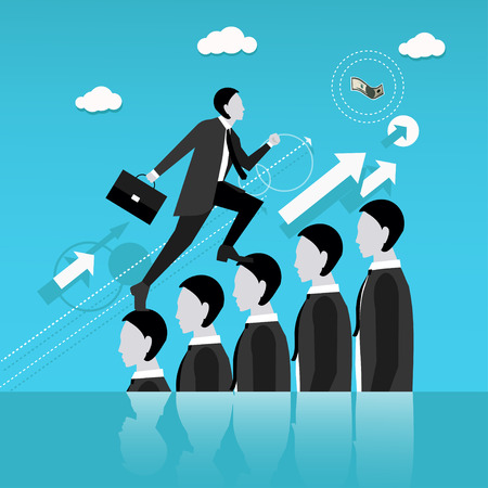 exploit: Businessman step on other people head in the way to success. Business concept vector illustration. Reaching goal in business and career. Illustration