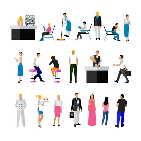 drink coffee: Vector set of restaurant employees and visitors. People icons isolated on white background.