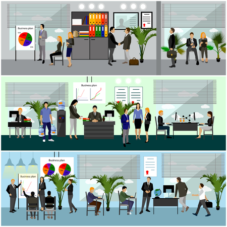 Flat design of business people or office workers.