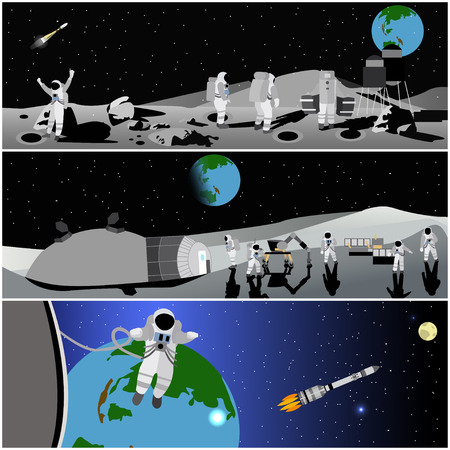 space station: Moon space station vector illustration.