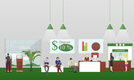interiors: Horizontal vector banners with bank interiors. Finance concept illustration.