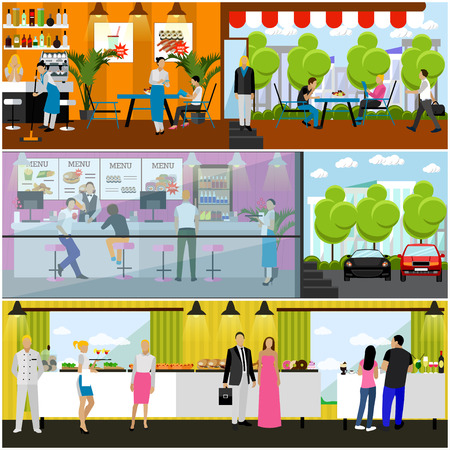 interiors: Vector set of banners with restaurant interiors. Smorgasbord party. Fast food restaurant and street cafe in flat design Illustration