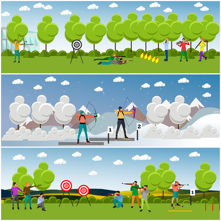 winter range: Vector set of sport shooting banner. Competition games. People in shooting positions.