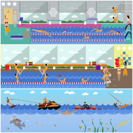 water sport: Horizontal vector banners with swimming pool interior. Water sport concept. People training and exercising. Flat cartoon illustration Illustration