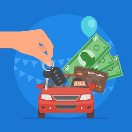 Car sale illustration. Customer buying car from dealer concept. Salesman giving key to new owner. Hand holding money. 일러스트