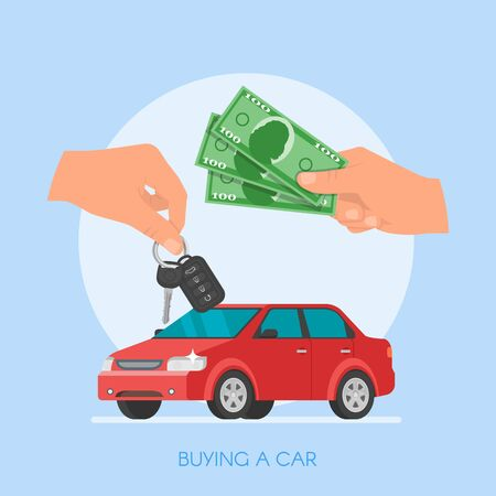 owner: Car sale illustration. Customer buying car from dealer concept. Car salesman giving key to new owner. Hand holding car key and money. Illustration