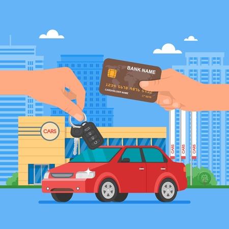 owner money: Car sale illustration. Customer buying car from dealer concept. Salesman giving key to new owner. Hand holding credit card. Car rental service concept.