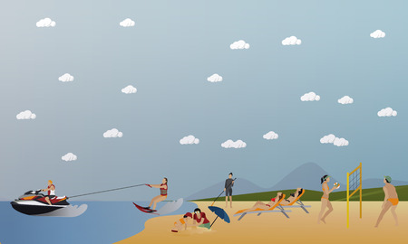 recreation: set of summer recreation concept banners in flat style. People playing water sport on a beach.