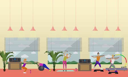 gym room: Fitness center interior illustration. People work out in gym horizontal banners. Sport activities concept. Yoga, fitness, gym.