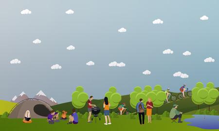 ricreazione: set di concetto estate ricreazione banner in stile piatto. Persone campeggio nel parco.