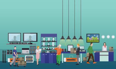consumer electronics: People shopping in a mall. Consumer electronics store Interior illustration. Design elements and banners in flat style.