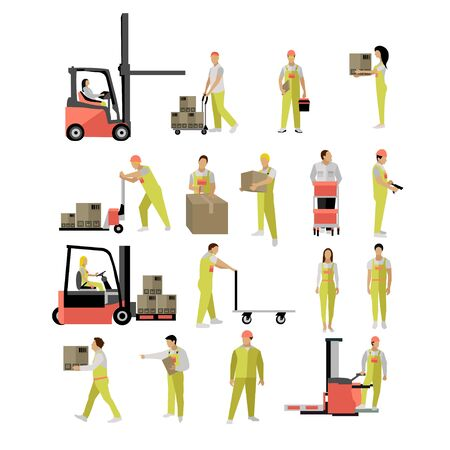 Delivery people silhouettes. Logistic and transportation icons isolated on white background. illustration in flat style design. Delivery man working in warehouse and shipping products.