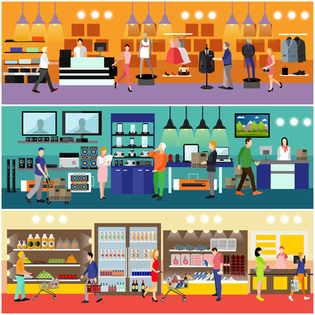 clothing store: People shopping in a mall concept. Consumer electronics store Interior. Colorful vector illustration. Customers buy products in food supermarket.