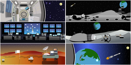 Space mission control center. Rocket launch vector illustration. Space station and outer space. Landing to Mars landscape concept.