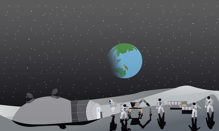 space station: Moon space station vector illustration. Austronaunts landing to moon.