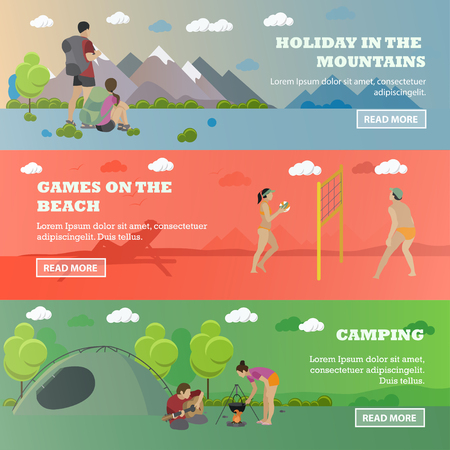 children sport: Vector set of summer recreation concept banners in flat style. Beach volleyball, forest camping, mountain hiking.