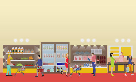 foodstuff: Supermarket interior vector illustration in flat style. Customers buy products in food store. Groceries and foodstuff on shelves. People shopping.
