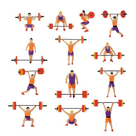 Levantamiento de pesas y entrenamiento de ejercicio en el gimnasio. Vector conjunto de iconos de gimnasio en el estilo plano aislado en el fondo blanco. La gente en el gimnasio.