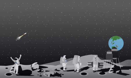 space station: Moon space station vector illustration. Astronauts landing to moon concept.